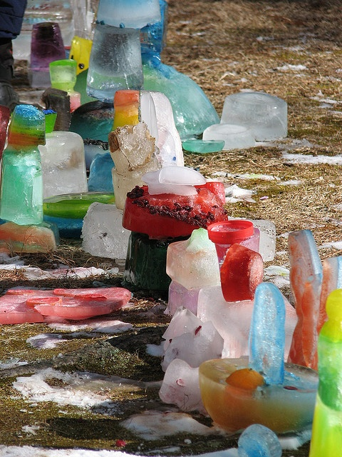 preschool ice sculpture... Children collect snow, chart how long it will take to melt, then dye water and refreeze. Winter building blocks