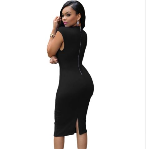 Women Black Low V Neck Dress    This Women Black Low V Neck Dress is made of polyester and spandex. Its pattern type is solid and its waistline is natural. This women dress fits rue to size. Hence, please choose your normal size. Thanks.    Note: Please allow 2 to 4 weeks for delivery.