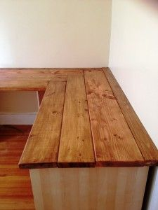 DIY corner desk | Side view of corner detail (still need to anchor everything so it's ...