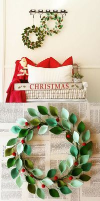 "18"" Modern Christmas Wreath with Felt Leaves and Holly Berries- unique Christmas decor, very modern! #modernchristms #christmas #wreath #decor #affiliatelink"