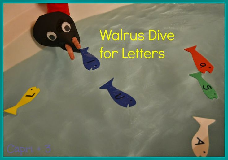 Walrus Dive for Letters-Make an easy puppet and use it for a literacy activity.