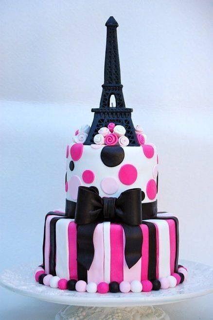 Gâteau thème Paris pâte a sucre