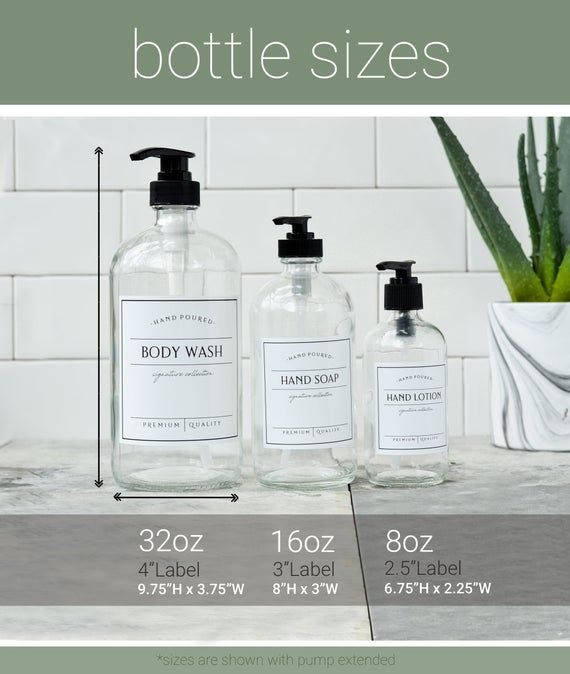 32oz Custom Bottle Create Your Own Bottle Glass Bottle With Waterproof Label Refillable Soap Dis In 2020 Custom Bottles Soap Labels Vinyl Labels