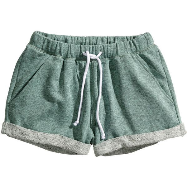 H&M Sweatshirt shorts ($7.64) ❤ liked on Polyvore featuring shorts, bottoms, short, pajamas, green, h&m shorts, green shorts, short shorts and h&m
