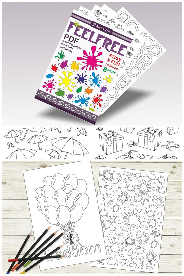 Easy coloring book, suitable for beginners, coloring pages for adults, printable pdf, digital download. #coloring #adult #book #pages