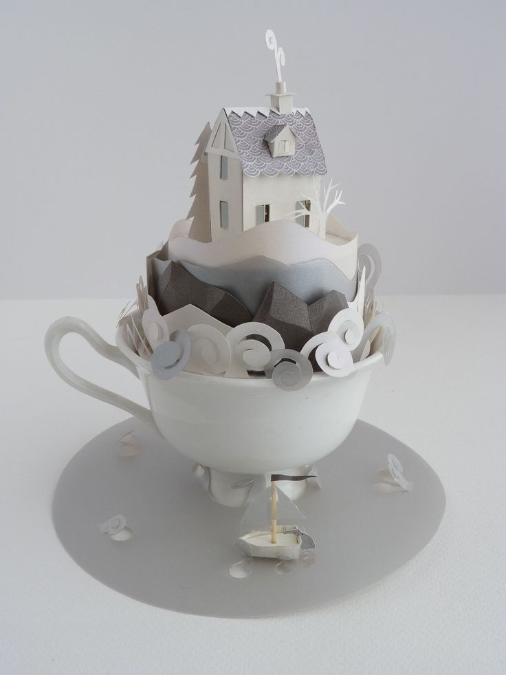 Teacup island.Helen Musselwhite, Helenmusselwhit, Tiny House, Teas Cups, Paper Art, Paperart, Paper House, Crafts, Teacups Islands