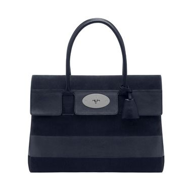Bayswater in Midnight Blue Silky Classic Calf and Nubuck Stripe | Spring Summer 2014 Catwalk | Mulberry // In the ad they have it in orange.