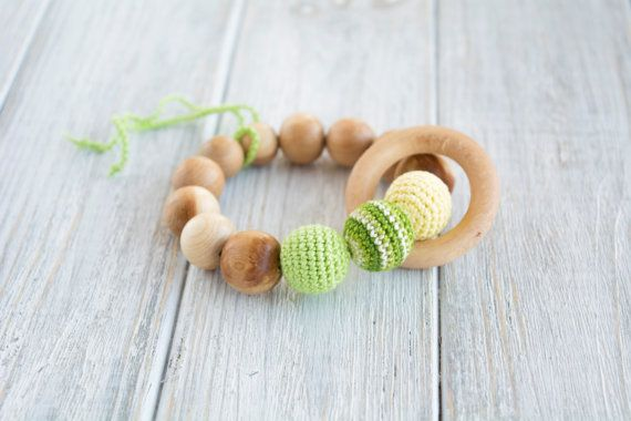 Green teething ring with crochet juniper beads and by MyFirstToy