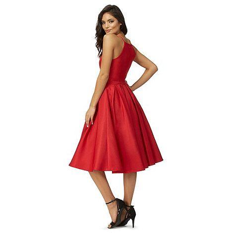 chi chi london red amity flared dress debenhams kleidung