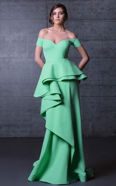 MNM Couture - Off-Shoulder Ruffled Peplum Gown N0104A