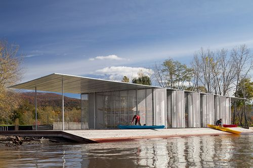 This project for the Scenic Hudson Land Trust is a Boat Pavilion in a new public park on the Hudson River in Beacon, New York. One of two new structures created for Long Dock Park, the Boat Pavilion was integrated closely with the landscape architect Reed Hilderbrand Associates' vision.
