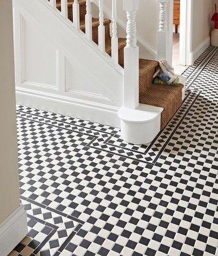 Victorian Black/White Chequer Tile 28.8x28.8cm Idea for the kitchen?