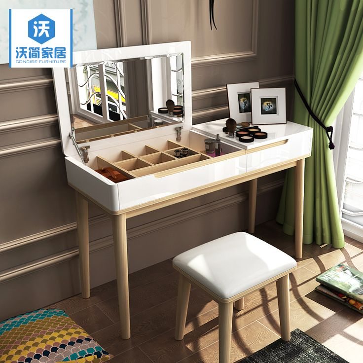 Modern Nordic wood bedroom Dresser make up small sized paint flip the table dressing table simple dressing Cabinet