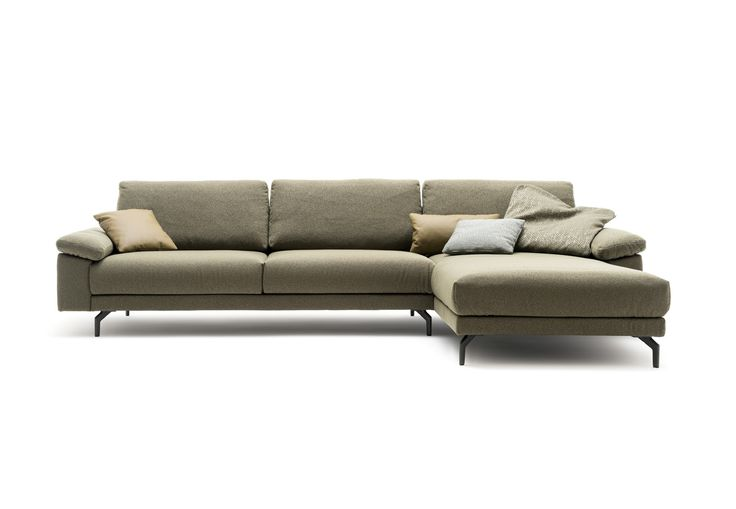 hülsta sofa hs.450 individuelles Sofa Programm zur Konfiguration / Anreihsofa / Seitenteil XL extra breit mit Kissen / Stoff Diane oliv grün Q2 pflegeleicht / made in Germany
