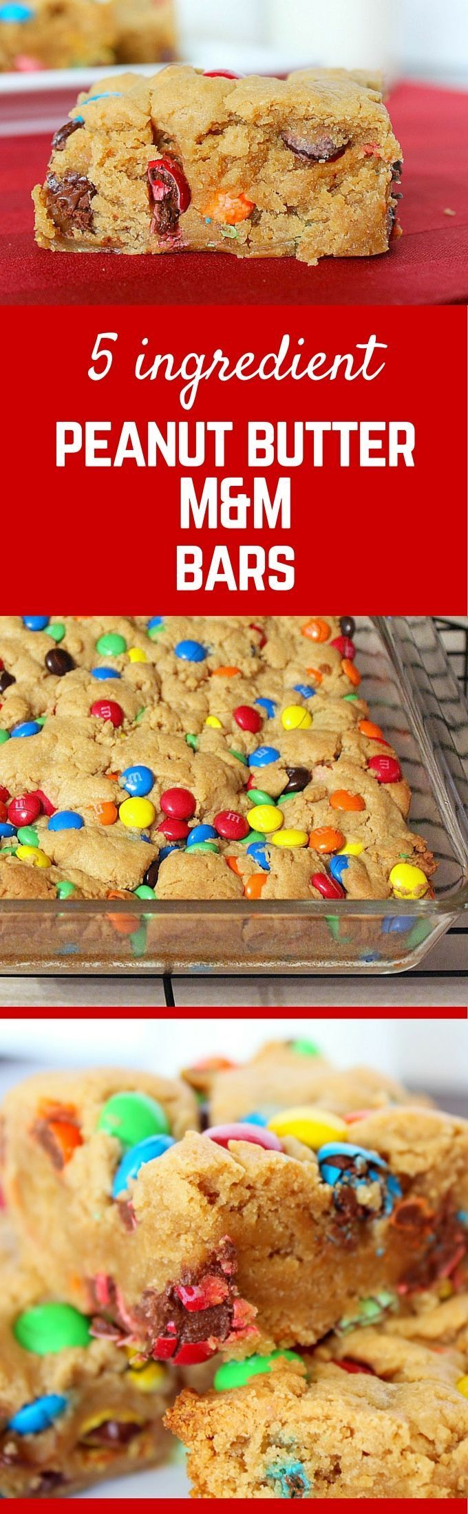 Irresistible M&M Peanut Butter Bars with only 5 ingredients! Get the easy dessert recipe