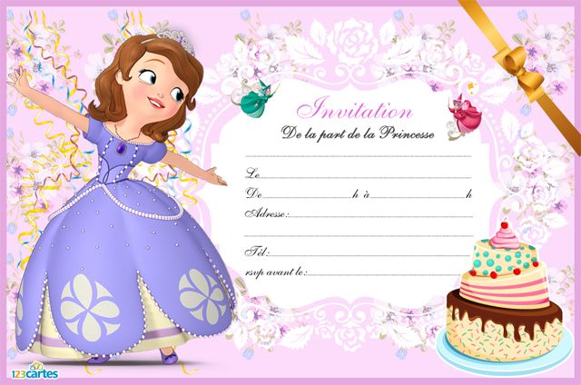 carte invitation anniversaire princesse sofia 123 cartes. Black Bedroom Furniture Sets. Home Design Ideas