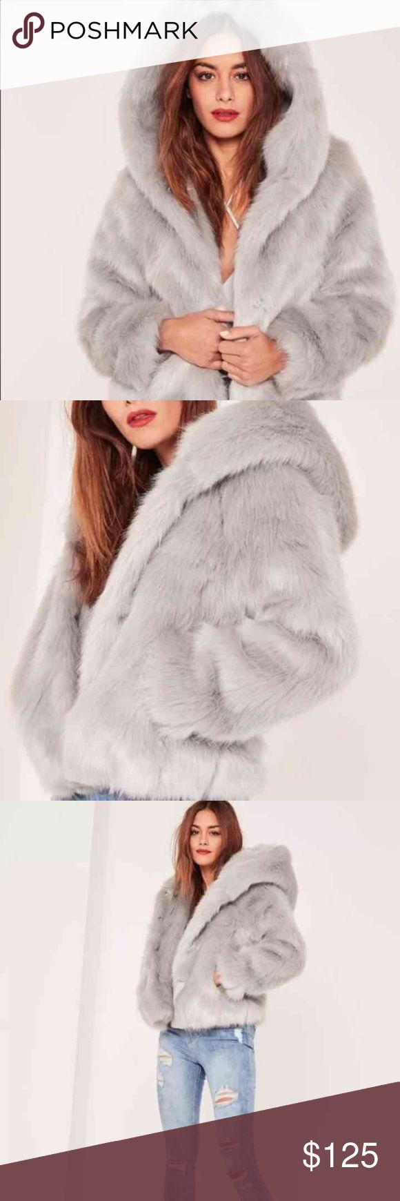 Faux fur hooded jacket Misguided Caroline Receveur faux fur hooded jacket. Sold out. Gray. NWT. Size 6. Oversized fit. Missguided Jackets & Coats