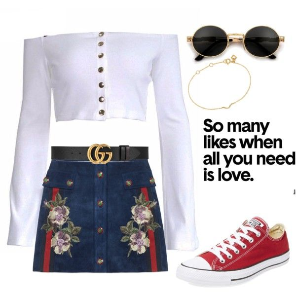 A fashion look from December 2017 featuring Gucci mini skirts, Converse sneakers and Maya Magal bracelets. Browse and shop related looks.