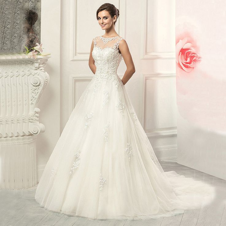>> Click to Buy << 2016 Louisvuigon Lace A Line Wedding Dresses Scoop Sheer Lace Back Floor Length Sweep Train Wedding Gown Vestidos De Noiva #Affiliate