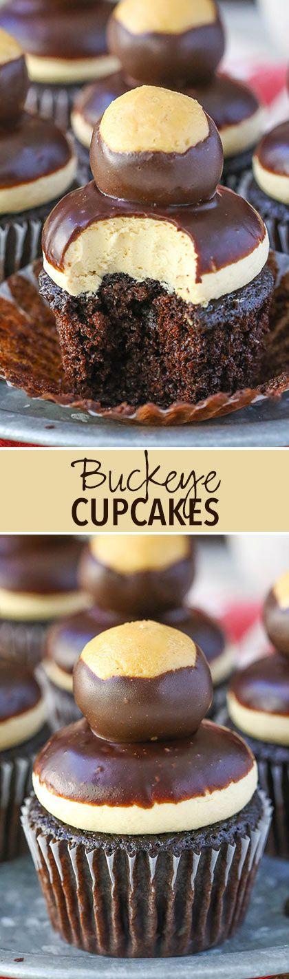 Peanut Butter Chocolate Buckeye Cupcakes!