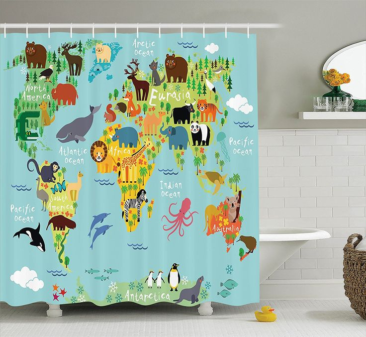 Cute Shower Curtains..Map of Animals. Lets surround the kids in things they love.