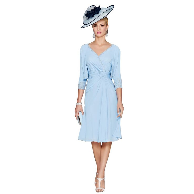 Women's V-Neck Chiffon Mother of the Bride Dresses with Jacket Knee Length Wedding Guest Dresses(14,Sky Blue)