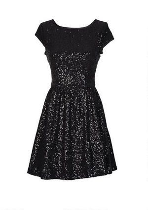Disco fever! This short-sleeve allover sequin skater dress is just perfect for the party season. Back zipper. Fully lined.
