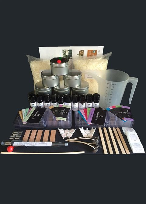 The Ultimate in DIY look at this soy candle making kit for beginneres.  Includes 10 different fragrances to try!