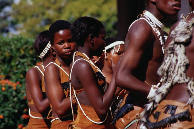 Young buskers perform tribal music and dance in the capital of Botswana, Gaborone
