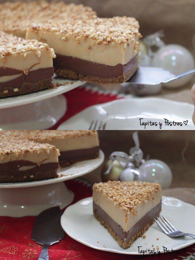 Rica tarta de turrón y chocolate