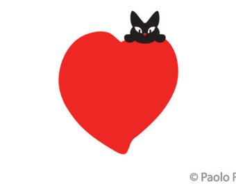 Biglietti auguri di Titina, Auguri S.Valentino, design originale, San Valentino, gatta nera, cartoline d'amore, cartoline romantiche