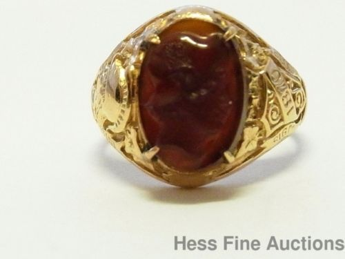 Genuine Tiffany & Co. 14k Gold CUNY Hunter College Hard Stone Cameo Ring 1930's