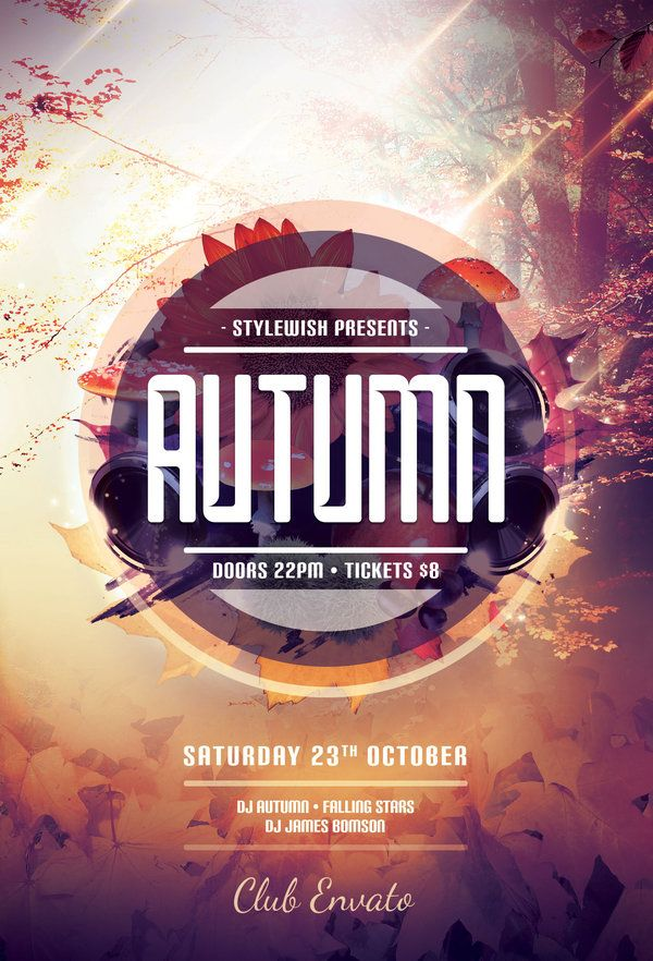 Autumn Flyer Template By StyleWish Buy PSD File 9 Design Poster Graphic Flyer Design