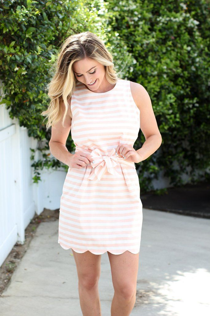 Scallop Tie Dress - Grapefruit