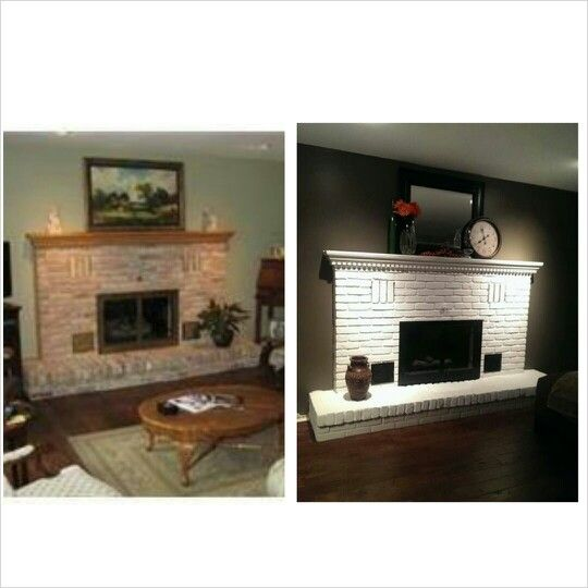 before and after painted brick fireplace for the home pinterest. Black Bedroom Furniture Sets. Home Design Ideas