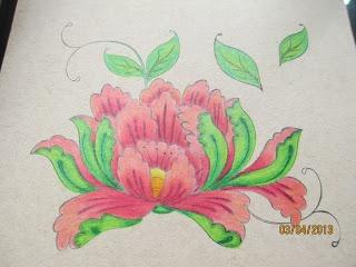 Kaszazz Lotus Blossom, coloured with Prisma's