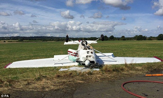 Now that;s what I call Bad parking.The Cessna light aircraft that flipped over on to its roof as it landed but miraculously t...