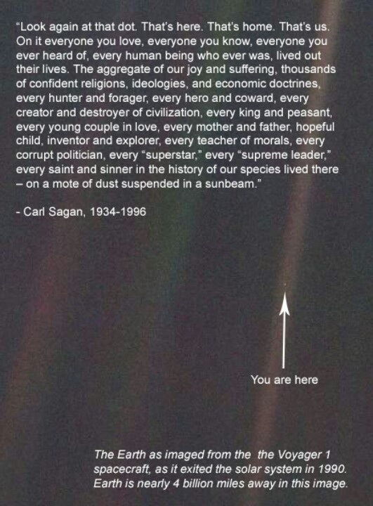 Carl Segan on Voyager 1's photo of Earth from the edge of the solar system - 4 billion miles away.