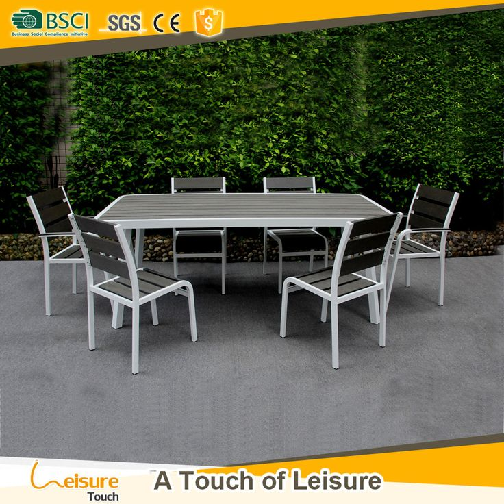Newest backyard patio outdoor dinner table and chairs furniture poly wood home & garden cheap dining table set for sale