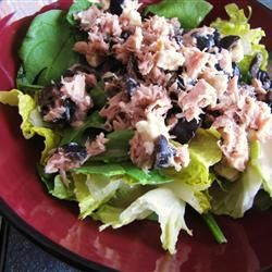 Greek-Style Tuna Salad - Made complete with Kalamata olives, Greek vinaigrette, and crumbled feta.