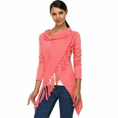 Cowl Neck Long Sleeve Asymmetric Tassel Outwear Top Blouse Pink | pinknee.com
