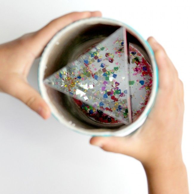 make a big kaleidoscope from a cardboard oatmeal canister