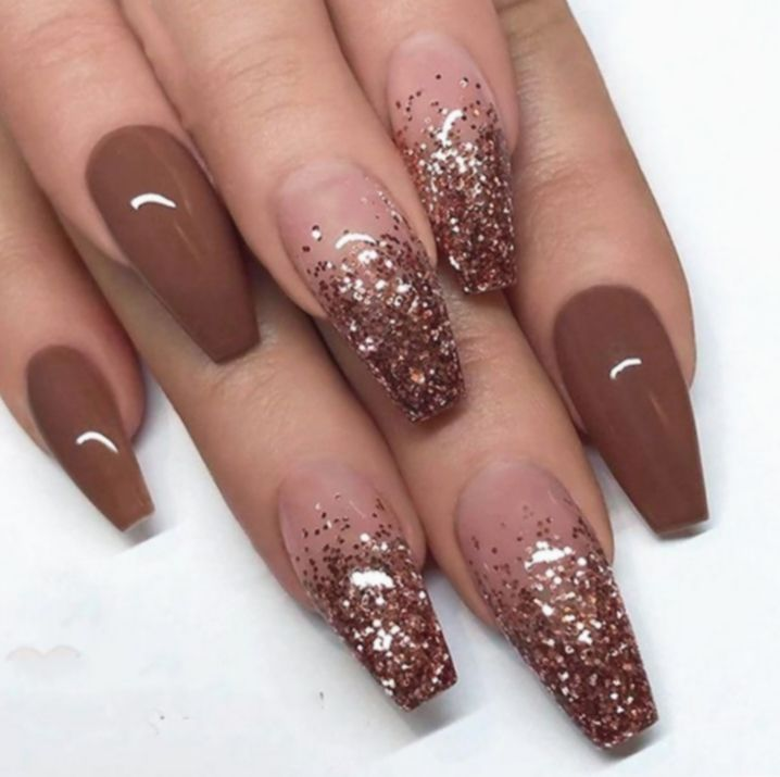 15 Nail Ideas Coffin Brown Ombre Nail Designs Brown Nails Design Nail Designs Glitter