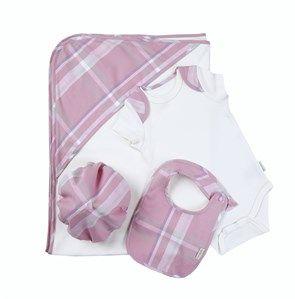 %100 Organik 4lü Basic Bebek Takımı Pink