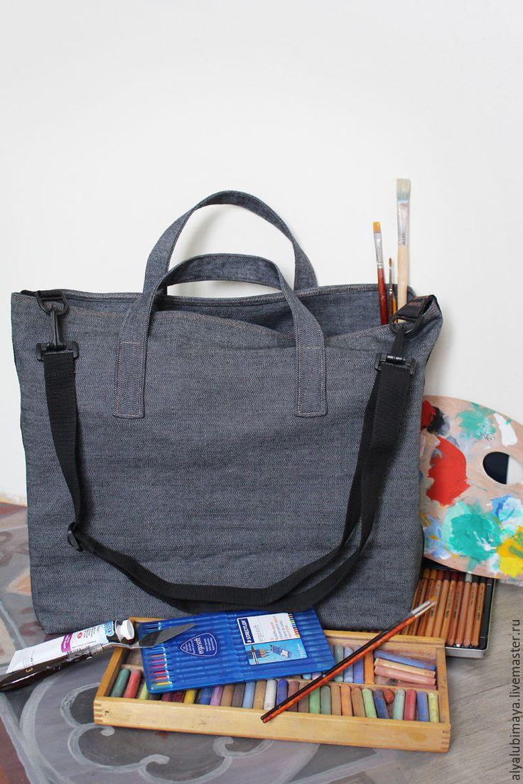 """Купить Сумка """"Художник"""" - тёмно-синий, однотонный, сумка, хозяйственная сумка, для художника, удобная сумка"""