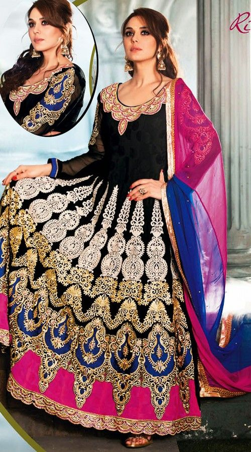 Preity Zinta In Black Long Length Anarkali Suit AG910150