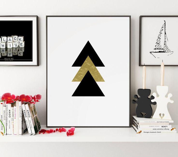 Gold Black Triangle Print, Geometric Print, Abstract Print, Geometric Art, Gold Wall Art, Gold Wall Print, Triangles