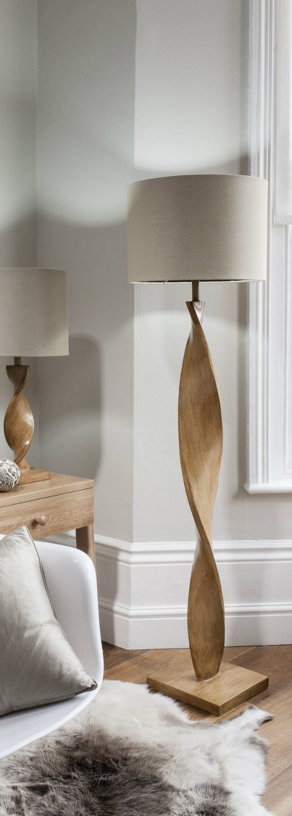 Floor lamp tables - Argenta 160cm Twisting Wood Floor Lamp