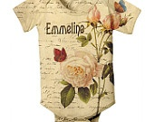 """Create Love""Baby Girl Onesie - Personalized French Rose Botanical, Custom Infant Onesies"