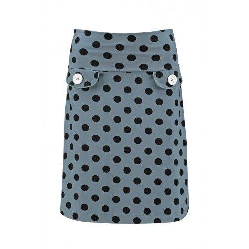 Tante Betsy Retro Skirt Dot Grey polkadots rok grijs zwarte stippen print